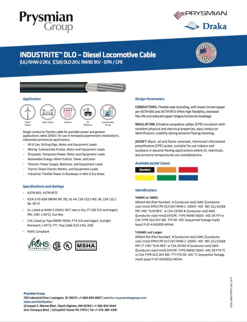 INDUSTRITE DLO Diesel Locomotive Cable