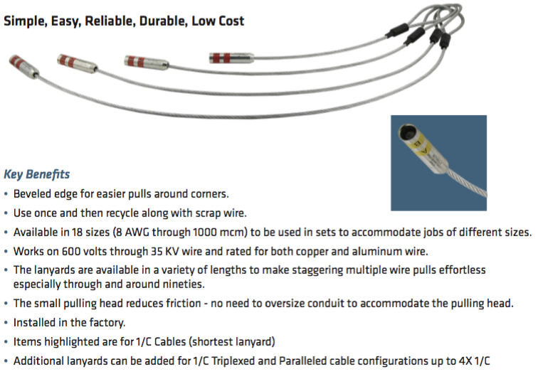 Pre-Attached Single-Use Cable Pulling Lugs